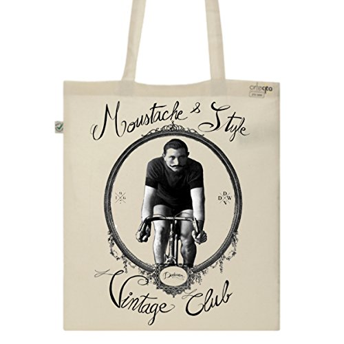 Tote Bag Imprimé Ecru - Toile en coton bio - Vélo et moustache vintage