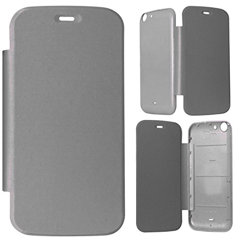 DMG Durable Protective PU Leather Flip Book Cover Case for Micromax Canvas 4 A210 - Grey  available at amazon for Rs.199