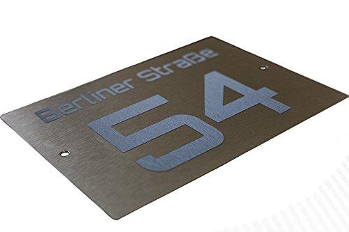 Hausnummernschild aus Aluminium mit Edelstahloptik - 2