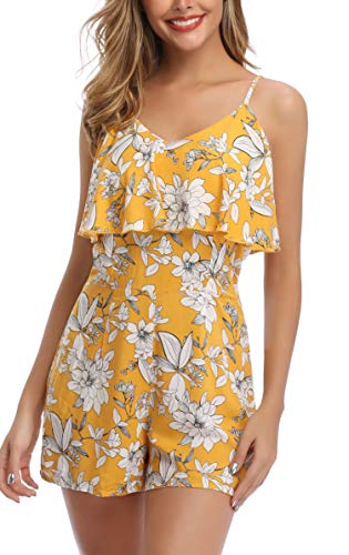 3195a82d8c34a7 MISS MOLY Jumpsuit Damen Sommer Kurz Overall Elegant Playsuits Blumenmuster  Einteiler Romper Gelb X-Large