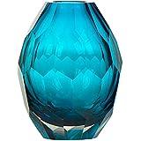 CASAMOTION Home Decor Accent Vase Diamond Shape Solid Color Hand Blown Art Glass Vase, Blue