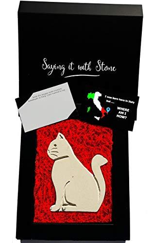 Sitzende Katze aus Stein - Symbol der Geduld - Handgemacht in Italien - Box und Nachrichtenkarte enthalten - Geschenk Geschenkidee Geburtstag Jahrestag Hochzeitstag Männer Frauen