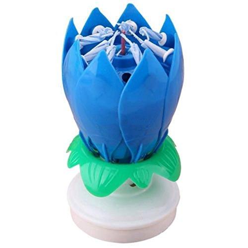 """Romantic-Carillon girevole, motivo: fiore di loto, motivo: candele Candela """"Happy Birthday di compleanno"""
