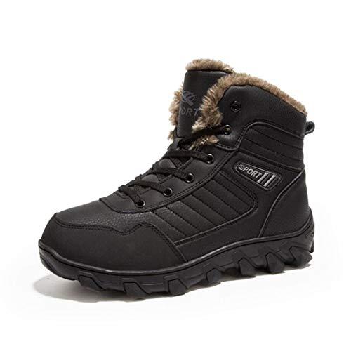 Zxcer Herren Winter High Top Fashion Sneaker Pelz Gefütterte Skate Schuhe Outdoor Sport Warme Ankle Schnee Stiefel (Farbe : Schwarz, Größe : 47) -