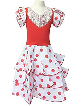 La Senorita Vestido ropa Flamenco Niño Lujo Español Traje de Flamenca chica/niños blanco rojo