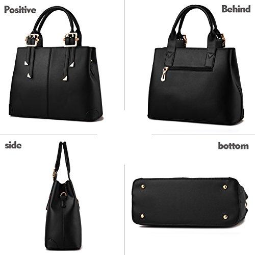 Tisdaini Portafoglio delle borse di affari del sacchetto del messaggero della spalla di modo della borsa dell'unità di elaborazione delle donne nero