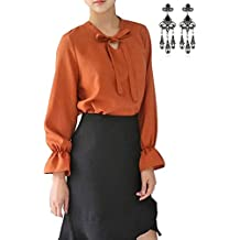 MODETREND Mujer Camiseta Elegante Manga Larga V Cuello Blusa Camisas y Tops Otoño para OL Oficina