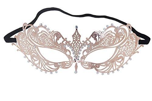 Damen Metall venezianische Maske für Halloween Karneval Cosplay M2, Rosa