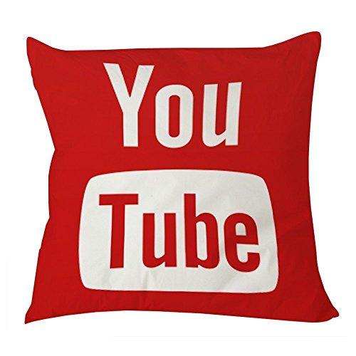 Algodón funda de almohada Simple para con cremallera en la parte Youtube Icon medios de comunicación social X00318x 18pulgadas por funda de almohada tienda moda decoración