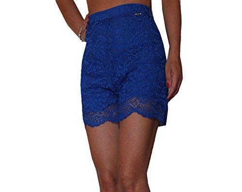 Artigli pantaloni donna bermuda pizzo blu elettrico elegante 40, blu elettrico, 40