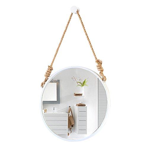 LRXG Espejo cosmético Espejo cosmético nórdico redondo montado en la pared baño espejo de tocador decoración de la pared maquillaje espejo colgante (Color : Blanco, Tamaño : 60cm)