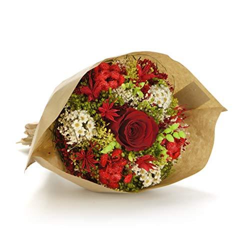 Bouquet garden (rosso) sanremo fiori essiccati dalla riviera dei fiori con rosa stabilizzata ...