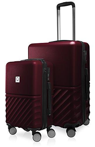 HAUPTSTADTKOFFER - Boxi - 2er Kofferset Trolley-Set Rollkoffer Reisekoffer Handgepäck und mittelgroßer Koffer (55/65 cm), ABS-Hartschale TSA, 4 Spinner-Doppelrollen, Burgund