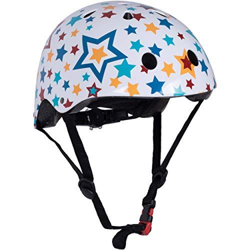 Kiddimoto Fahrrad Helm für Kinder / Fahrradhelm / Design Sport Helm für skates, roller, scooter, laufrad - Stars / Sterne - M (53-58cm)
