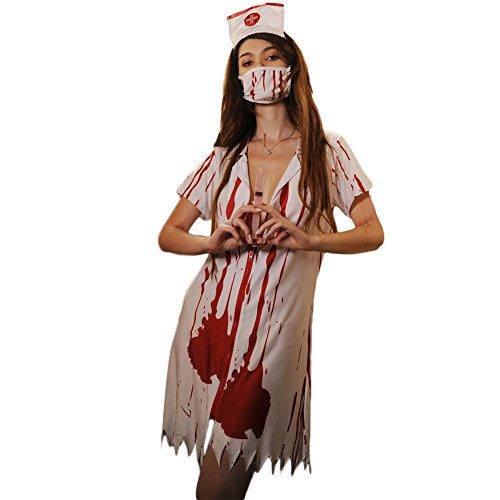 Fxwj Halloween Kostüm Blut Krankenschwester Frauen Fancy Zipper Kleid Zombie Alley Erwachsene Cosplay Dessous Babydoll Mit Masken Plus Size