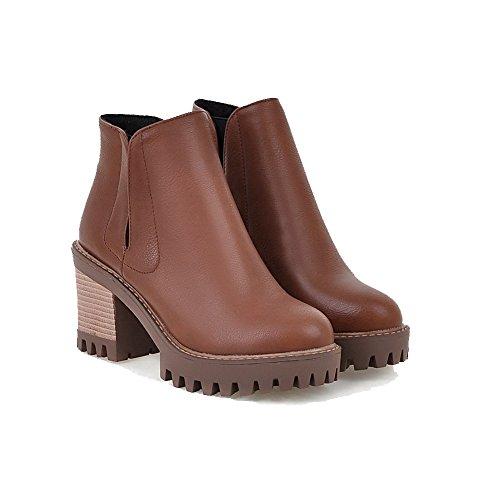 AgooLar Damen Ziehen Auf Wasserdicht Plattform Rein Knöchel Hohe Stiefel mit Naht Braun