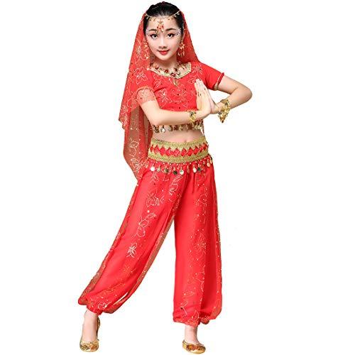 Magogo Mädchen Bauchtanz Kostüm Glänzende Party Kostüm Karneval Outfit, Kinder Arabische Prinzessin Kleidung Cosplay Dancewear (L 120-135cm, Rot) (Kostüm Rote Prinzessin Arabische)