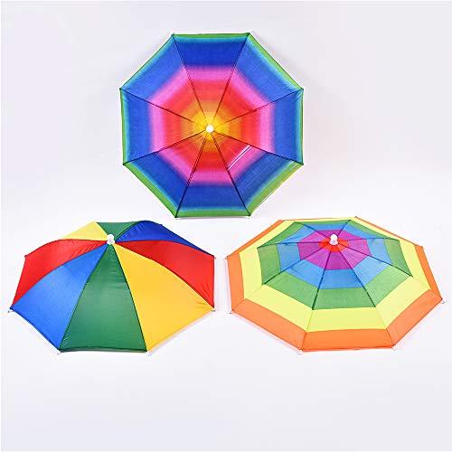 CAILI Sombrero para Sombrilla,Paraguas de Cabeza para el Sol y la Lluvia,Sun Rain Rainbow Sombrero para el Sol y la Lluvia, para Golf, Pesca y Acampada (3 pcs)