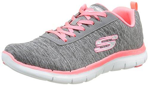 skechers-flex-appeal-2-sneakers-basses-femmes-gris-gycl-gris-corail-38-eu