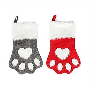 Yundxi Chaussettes de Noël à Suspendre pour Animal Domestique Motif Pattes de Chien