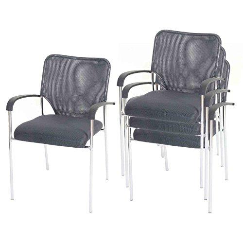 Mendler 4X Besucherstuhl Tulsa, Konferenzstuhl stapelbar, Textil ~ Sitz grau, Rückenfläche grau