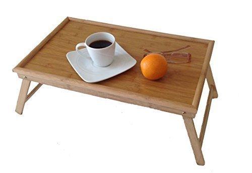 EBTOOLS Plateau pour Petit-D/éjeuner avec 2 Poign/ées Tablette de Lit Pliable en Bambou Tablette Pratique Durable pour Canap/é Sofa Lit