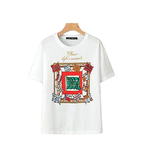 Komfortables Kurzarm-baumwolle (FLY BOY Damen T-Shirt Sommermode Rundhals Stickerei Kurzarm Komfortable Baumwolle Damen Top,S)
