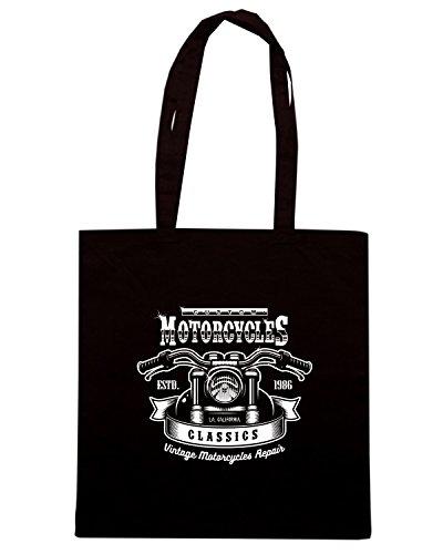 T-Shirtshock - Borsa Shopping TB0485 vintage motorcycle print monochrome Nero