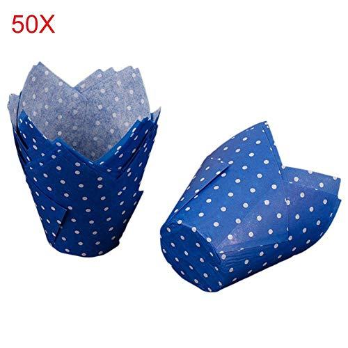 Arteki 50PCS Tulip Baking Cups Dot Pattern Paper Cupcake Liner Cases Muffin Wrappers Weddings Birthday Wrappers (Blue) - Dots Cupcake Liner