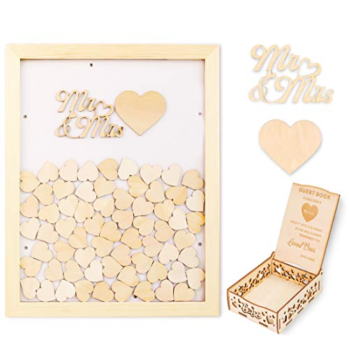 El libro de invitados de boda con corazón de madera de creawoo se puede colocar en tu salón después del evento, para recuerdos inolvidables. El libro de invitados con marco de Creawoo te permite recordar a la gente que compartes esos momentos espe...