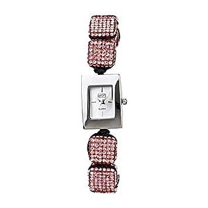 Eton 3020L Reloj De Moda Para Damas Correa De Pulsera Ajustable De Cubos De Cristal Rosa