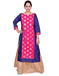 Kieana Women Raw Silk Plain Kurti With Kundan Work Button And Stand Button | Designer Trending Casual Party Wear...