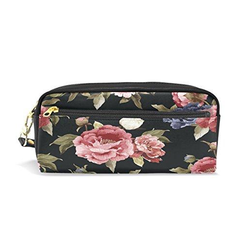 ckt mit Pfingstrosen-Blumenmuster in Wasserfarben, Reisetäschchen, Make-up-Tasche, große Kapazität, wasserdicht, Leder, 2Fächer, für Mädchen, Jungen, Damen, Herren ()