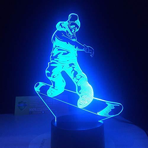 3D-Nachtlicht-Touch-Tisch-Schreibtischlampen, Snowboarding-LED-Lampe Optische Täuschung Farbwechsel Lampe Acryl Visuelle Lampe