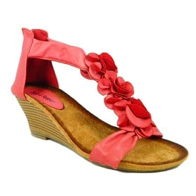 M1 Womens Low Wedge Sandal Back Zip Flower Ladies Open Toe Shoes (Red, 4 Uk)