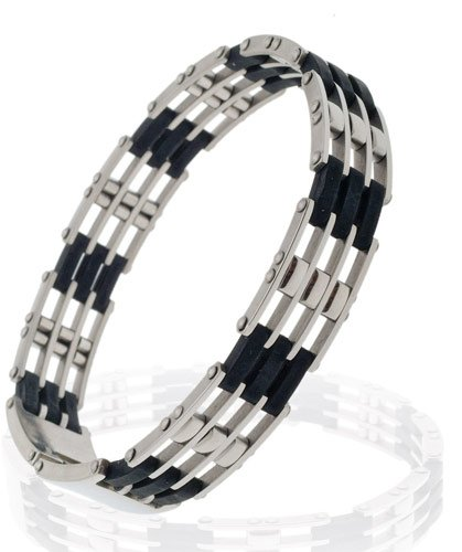 A slim Men's Silver Stainless Steel Links Bangle Bracelet with Black Rubber Links.