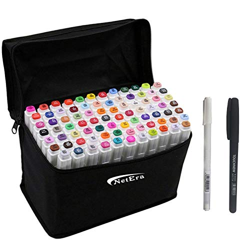 80 Farbige Marker Set Graffiti Stift Manga Sketch Pen, für Studenten Kunstler Design Schule Drawing art Supplies(weißen+Kostenloses Geschenke Pens)