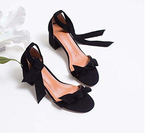 Ardesia Chunky Sandalssmiple Sweety Arco TPR Mid Heel Cinturino in cinghia Heel Heel Work Shoes Large Size Black