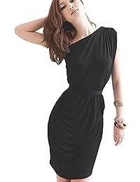 hrph Elegante de un hombro plisado vestido ajustado elástico para banquetes partes
