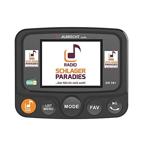Albrecht DR56+ DAB+ Adapter zum Aufrüsten von Auto-Radios, Schlagerparadies Direktwahltaste, FM-Transmitter für DAB+ Sender und Bluetooth-Verbindung vom Smartphone zum UKW-Radio