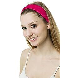 Cinta para el pelo - Ideal para hacer deporte - Rizo - Packs de diferentes unidades - Rosa - Pack de 5 unidades