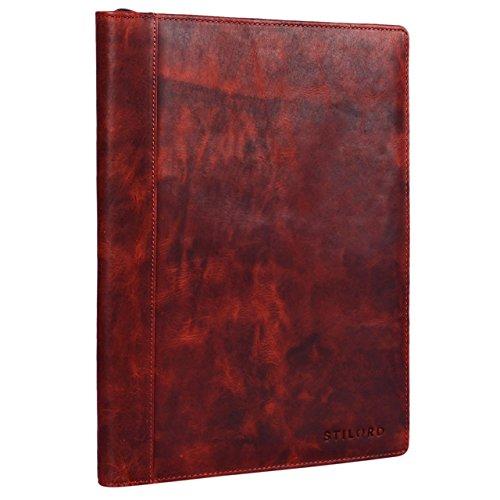 STILORD 'Julius' Vintage Cartella porta Documenti e per Tablet 12 Pollici Organzier rigido Portadocumenti in vera Pelle, Colore:kara - rosso