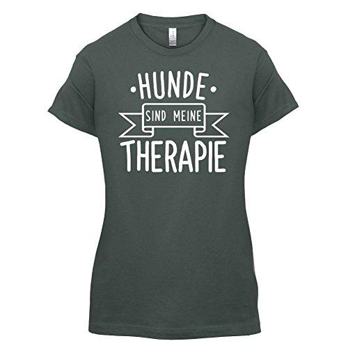 Hunde sind meine Therapie - Damen T-Shirt - 14 Farben Dunkelgrau