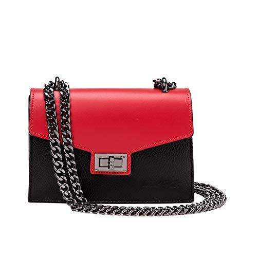 Ira del valle, borsa a tracolla donna ragazza, pochette elegante moda a spalla con catena, piccola borsetta a mano, clutch in pelle, modello venezia, made in italy (rossa e nera)