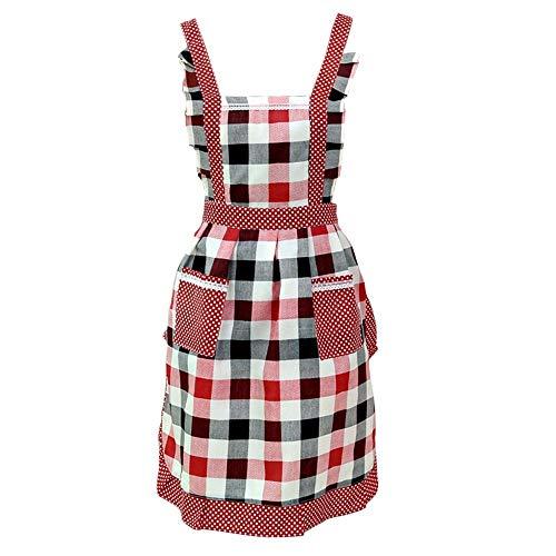 Tischler Bib (leihao888 Plaid Schürze Frauen Lady Restaurant Home Küche Tasche Kochen Baumwollmischung Bib Heimtextilien Breech Tuch)