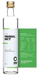 PRIMAL MCT Öl in Glasflasche | Extrakt aus Kokosöl | Geschmacksneutral | Caprylsäure (C-8) und Caprinsäure (C-10) | Bulletproof Coffee, Low Carb, Ketogen, Paleo und vegan | MCT Oil – 500ml