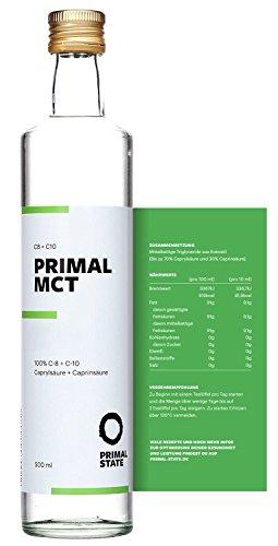 PRIMAL MCT Öl in Glasflasche | Extrakt aus Kokosöl | Geschmacksneutral - 500 ml