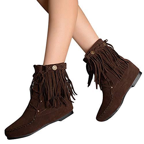 Preisvergleich Produktbild TianWlio Stiefel Frauen Herbst Winter Schuhe Stiefeletten Boots Runde Zehe Flache Schuhe Quaste Stiefeletten Rivet Kreuzgurte Wild Boots Braun 37