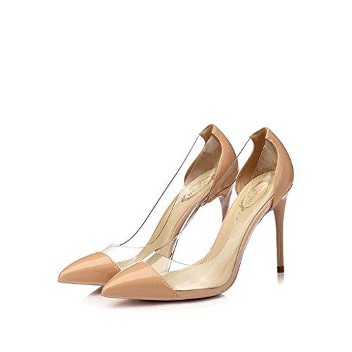 Hyun Times Chaussures Pointues à Talon Pointu de Couleur Nude avec Fine Lumière et Chaussures en Plastique Transparent de Couleur Mélangée