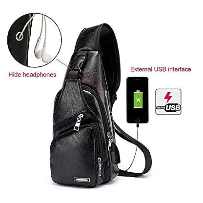 41GZGVzxyqL. SS416  - Pawaca - Bolso Bandolera para Hombre, Piel sintética, con Puerto USB, para Negocios, Senderismo, Viajes